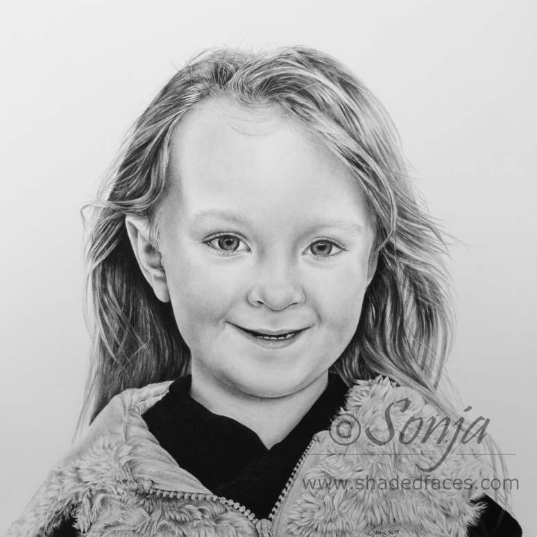 Portrait drawing of a little girl